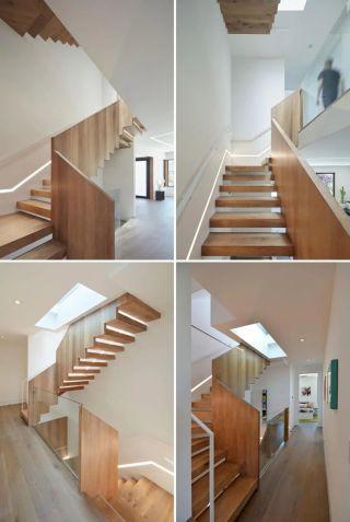 融入了极简照明的楼梯