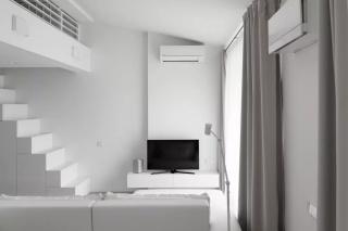 厦门小户型装修极简白 LOFT,隐藏式厨房让房间大一倍!